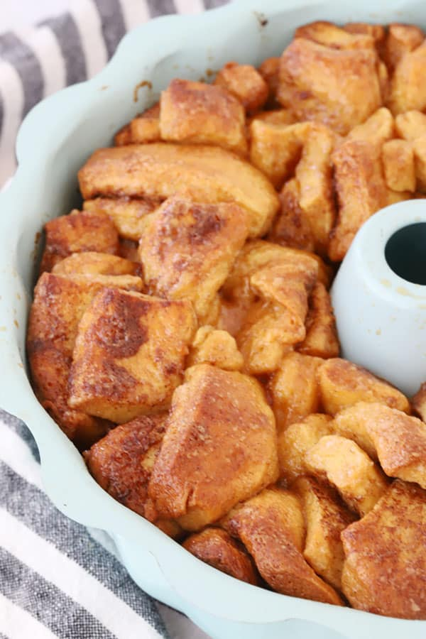 Cinnamon Roll Monkey Bread in a bundt pan.