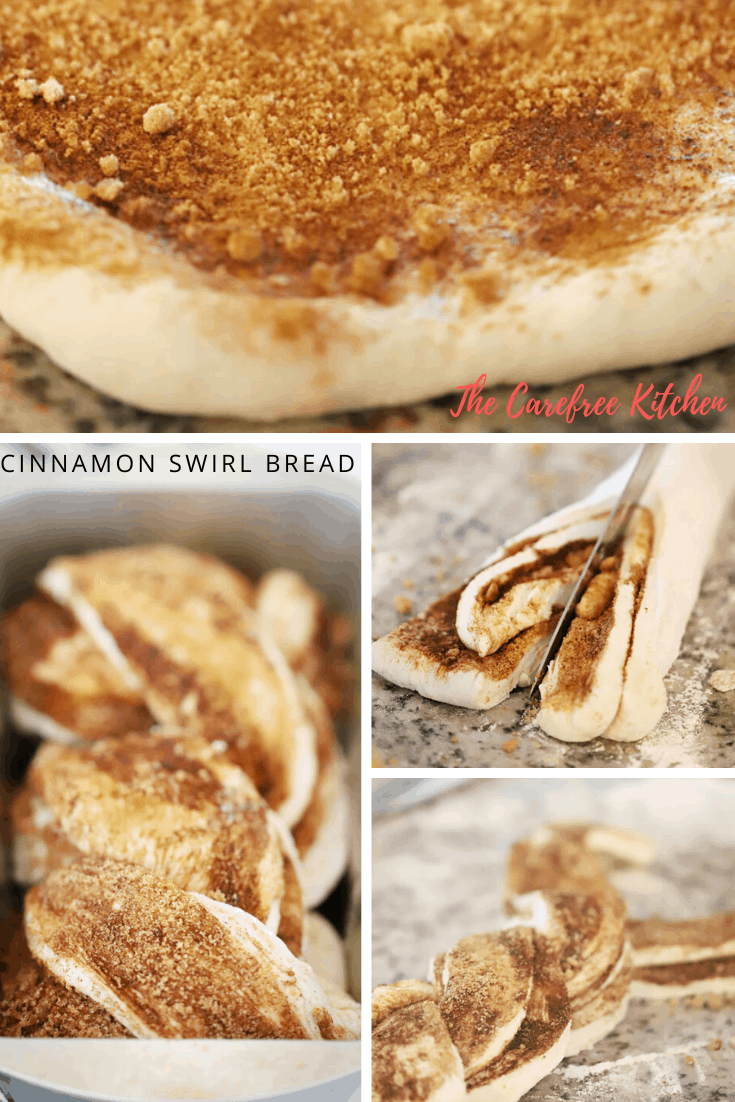 Photos steps showing how to make Cinnamon Swirl Bread