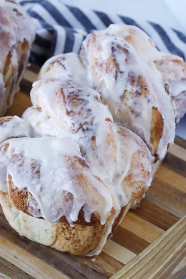 Cinnamon Twist Bread covered in vanilla icing.