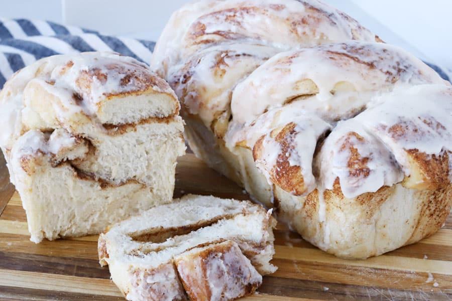 Two loaves of Cinnamon Twist Bread on a cutting board.