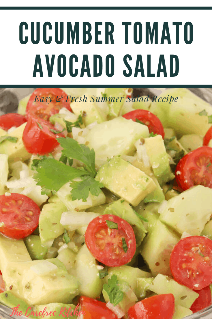 pinterest pin for cucumber tomato avocado salad