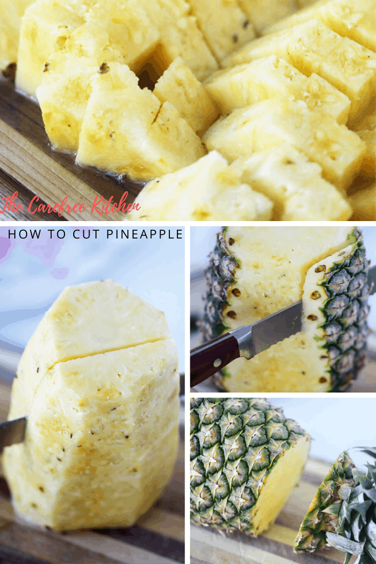 Photos showing how to cut a pineapple.