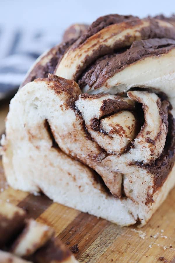 Nutella Twist Bread sliced on a cutting board.