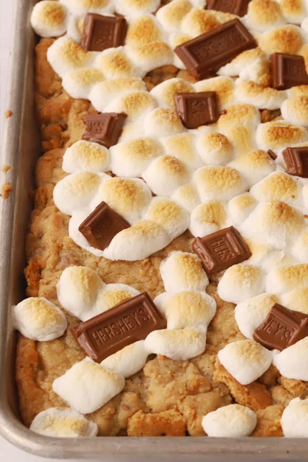 S'mores Cookie Bars baked in a sheet pan.