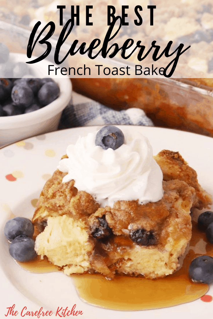 Pinterest pin for blueberry French toast bake.