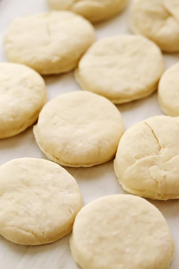 Baking Powder Biscuits cut and lined up on a baking sheet.