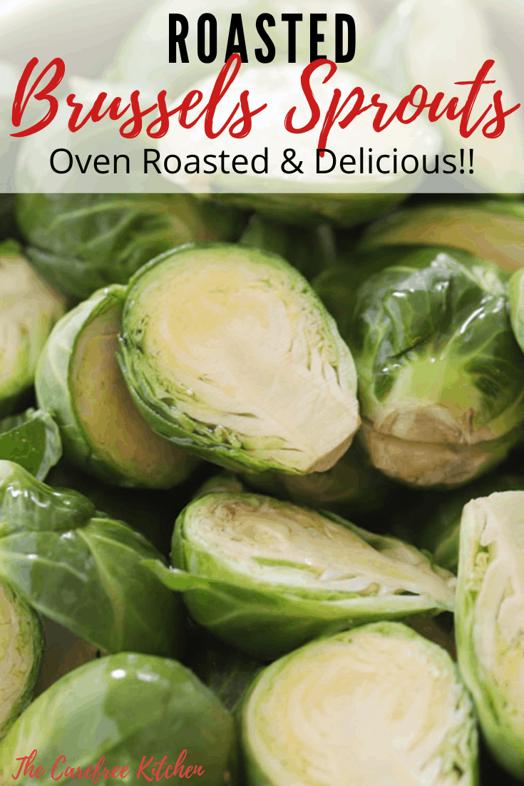 Pinterest pin for oven-roasted brussels sprouts.
