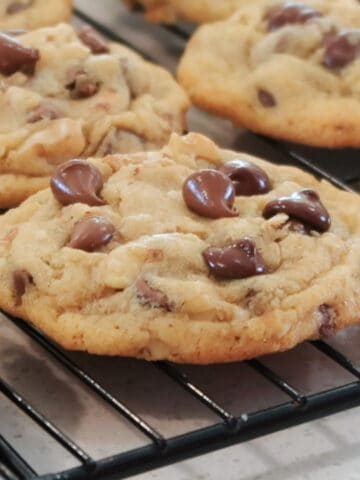 doubletree chocolate chip cookies on a wire rack
