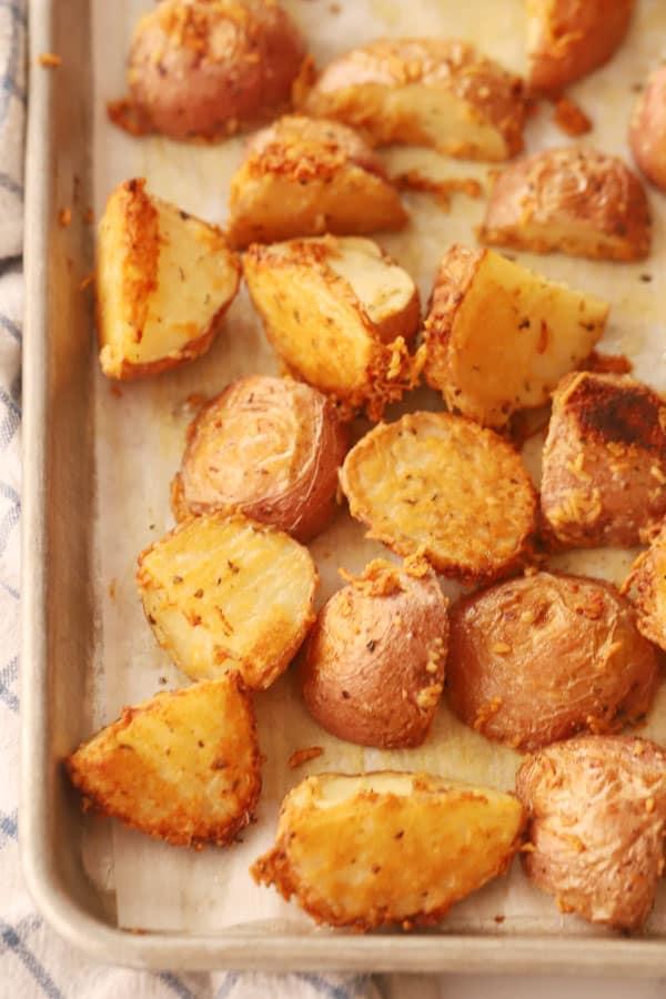 Parmesan Roasted Red Potatoes on a baking sheet.