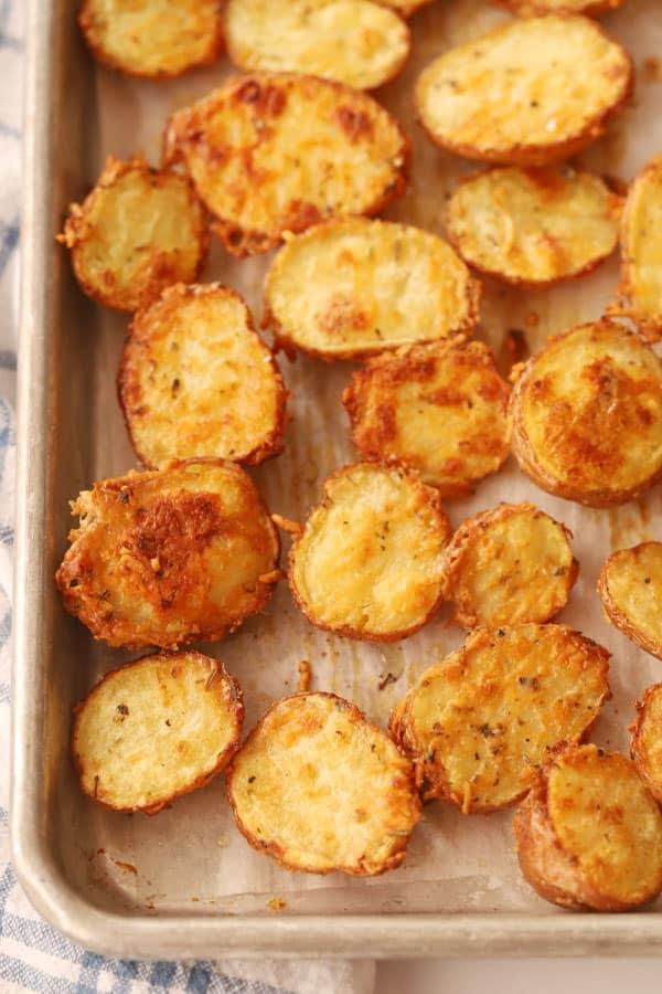 Parmesan Roasted Fingerling Potatoes on a baking sheet.