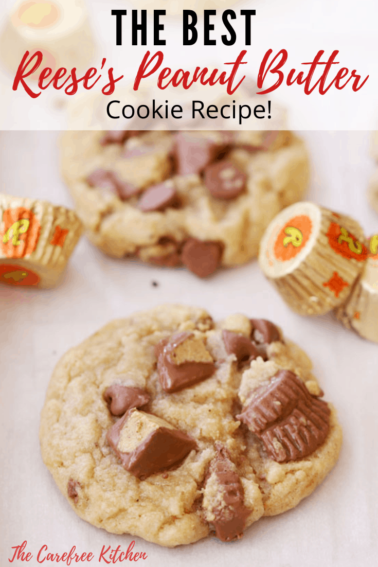 pinterest pin for reese's peanut butter cup cookies