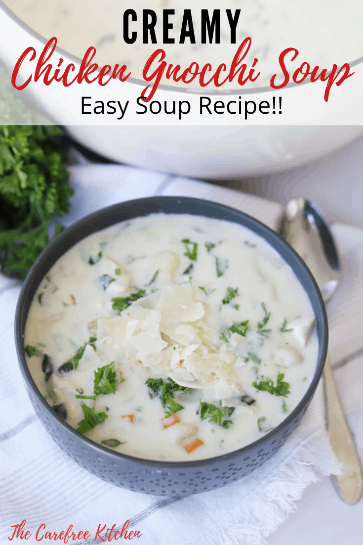 Pinterest pin for Chicken Gnocchi Soup.