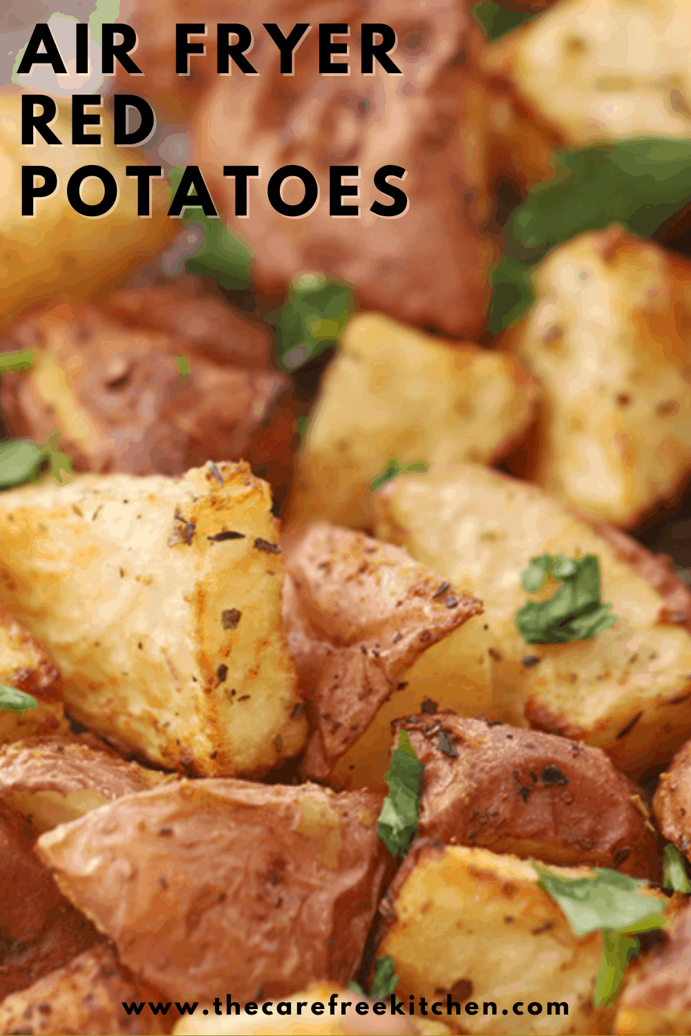 Pinterest pin for air fryer red potatoes.