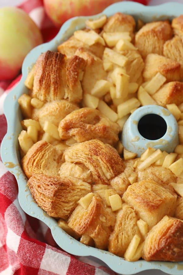 Apple Cinnamon Monkey Bread in a bundt pan.