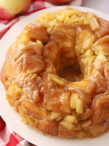 Apple Cinnamon Monkey Bread on a white plate.