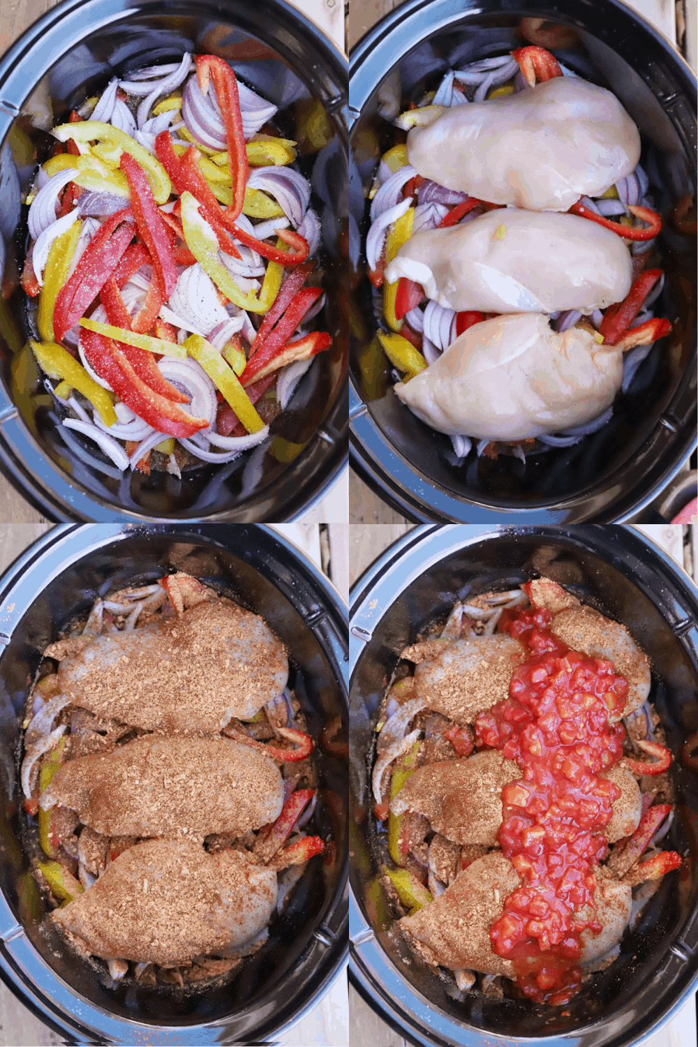 Four pictures showing the steps for making Slow Cooker Chicken Fajitas.