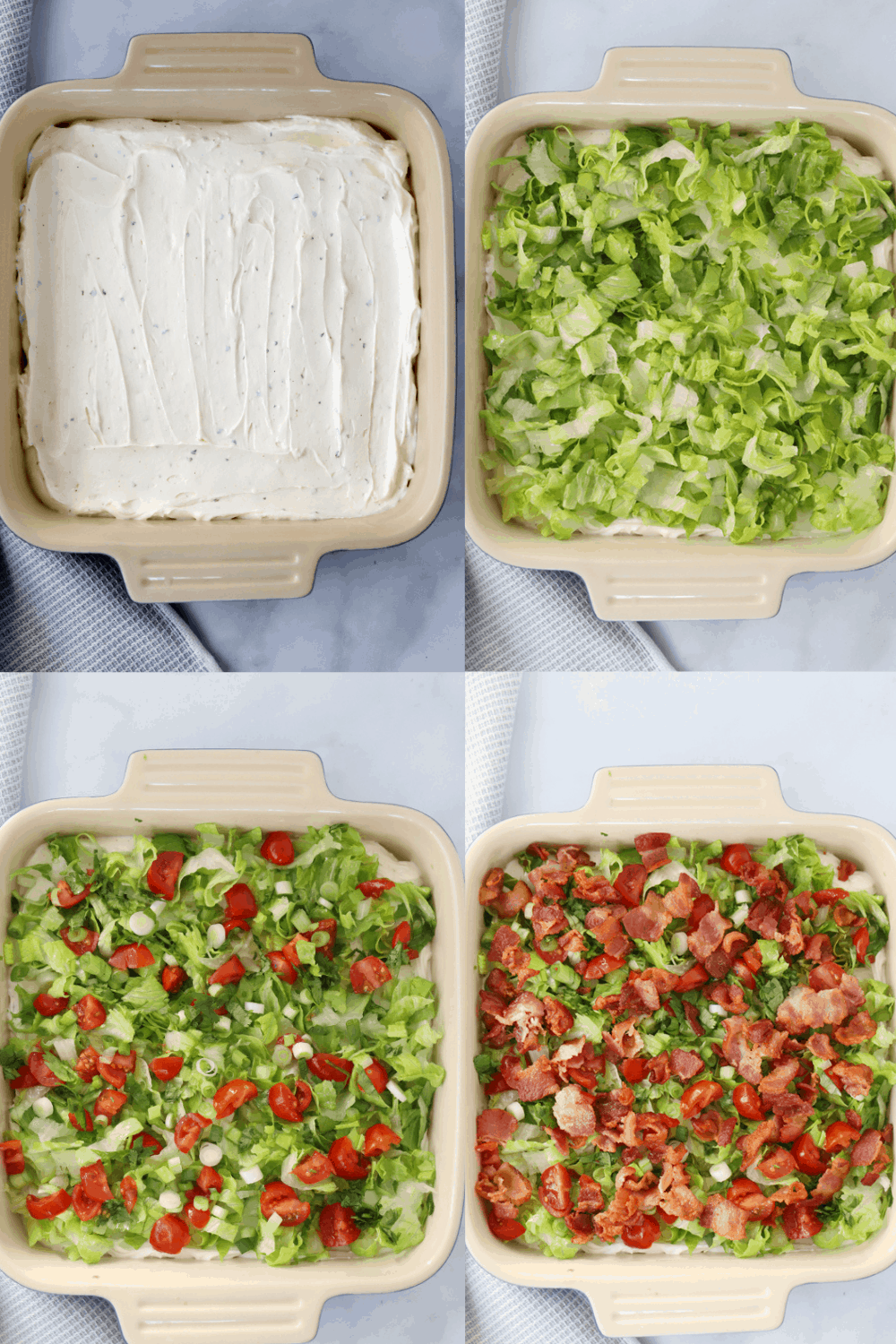 Four photos showing the steps to building BLT Dip in a baking dish.