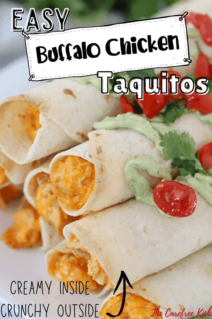 Pinterest pin for Buffalo Chicken Taquitos.
