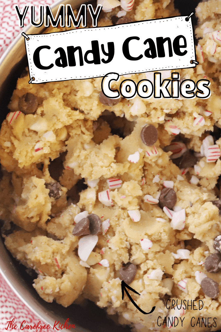 Pinterest pin for Candy Cane Chocolate Chip Cookies