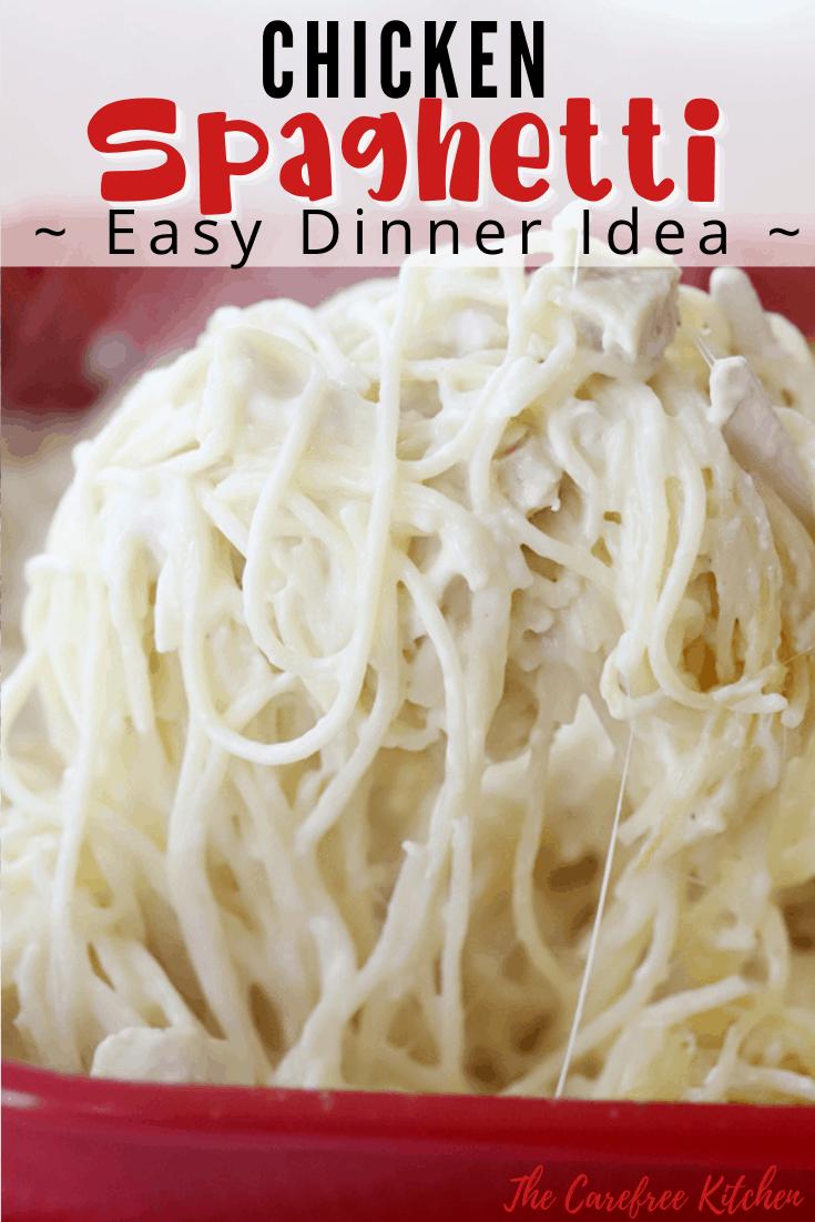 Pinterest pin for Chicken Spaghetti.