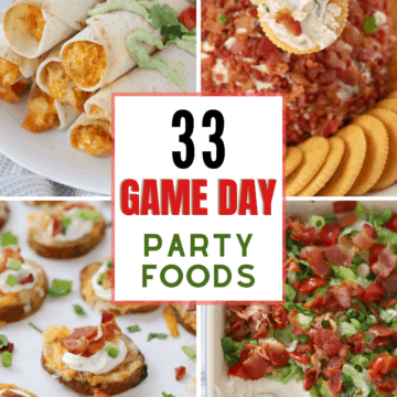 33 of the best game day foods collage- taquitos, cheese ball, dip and potato skins