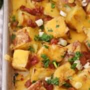 cheesy ranch potatoes on a baking sheet