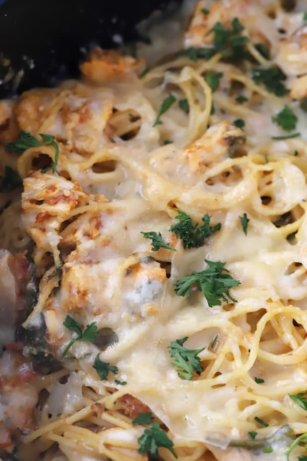 Tuscan Chicken with spaghetti and melted mozzarella cheese, garnished with fresh herbs.