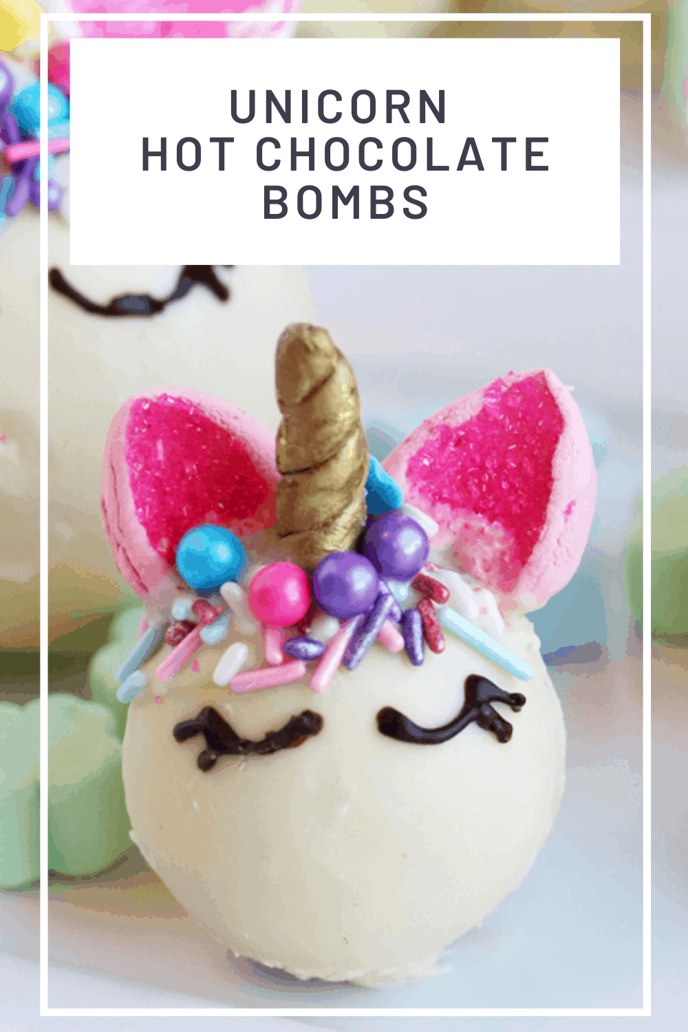 white chocolate Unicorn hot chocolate bomb