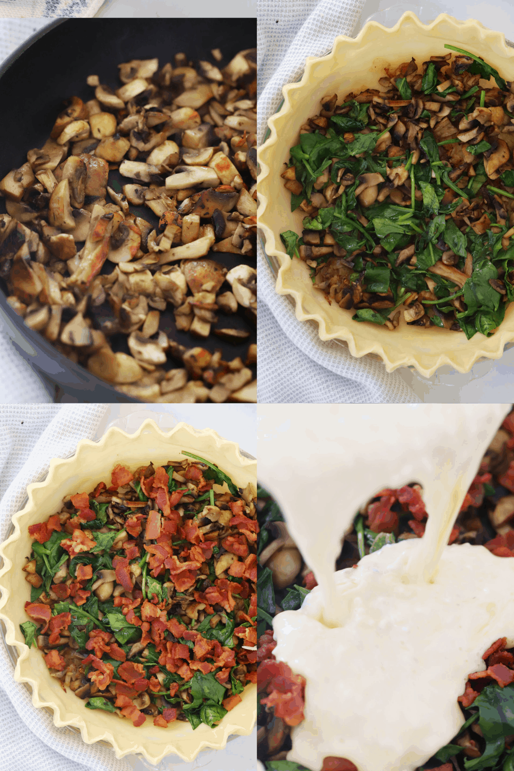 Four photos of the steps for making a mushroom and bacon quiche.