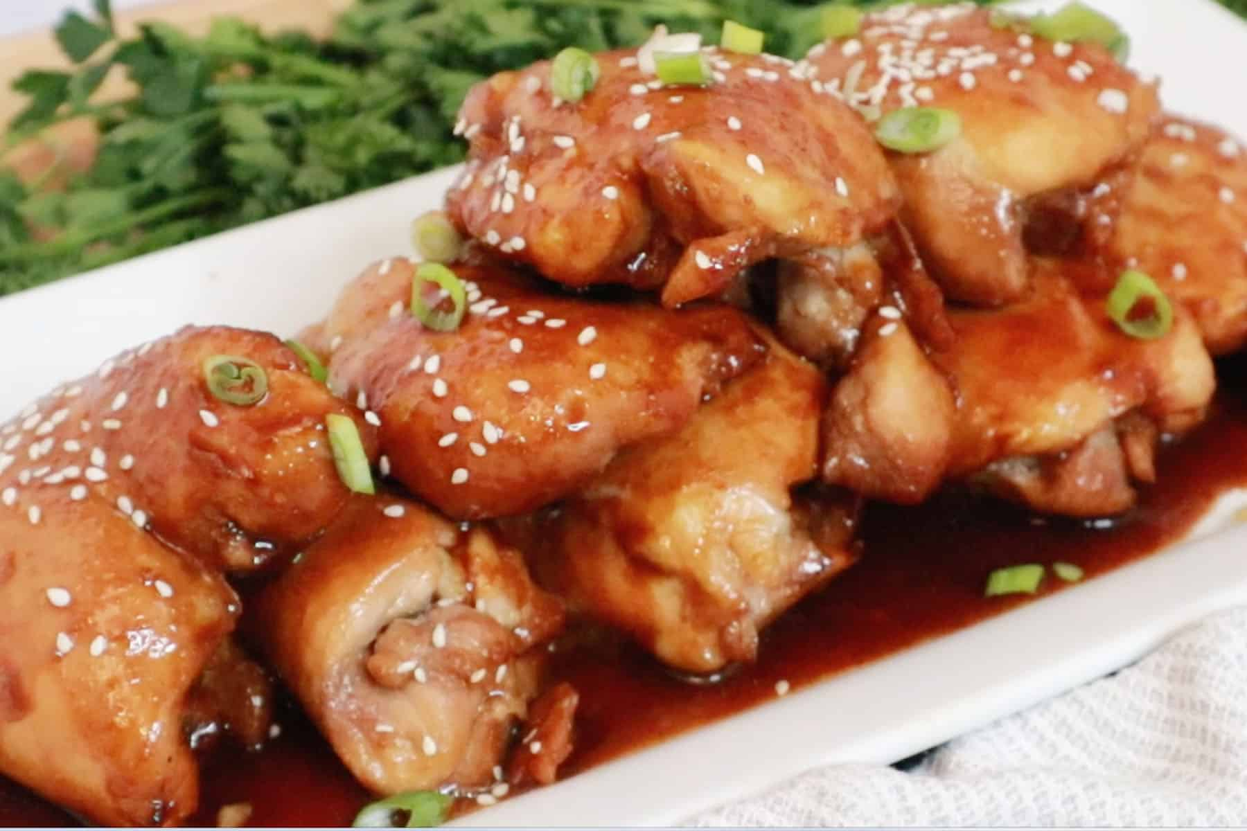 Honey Soy Chicken Thighs on a white platter