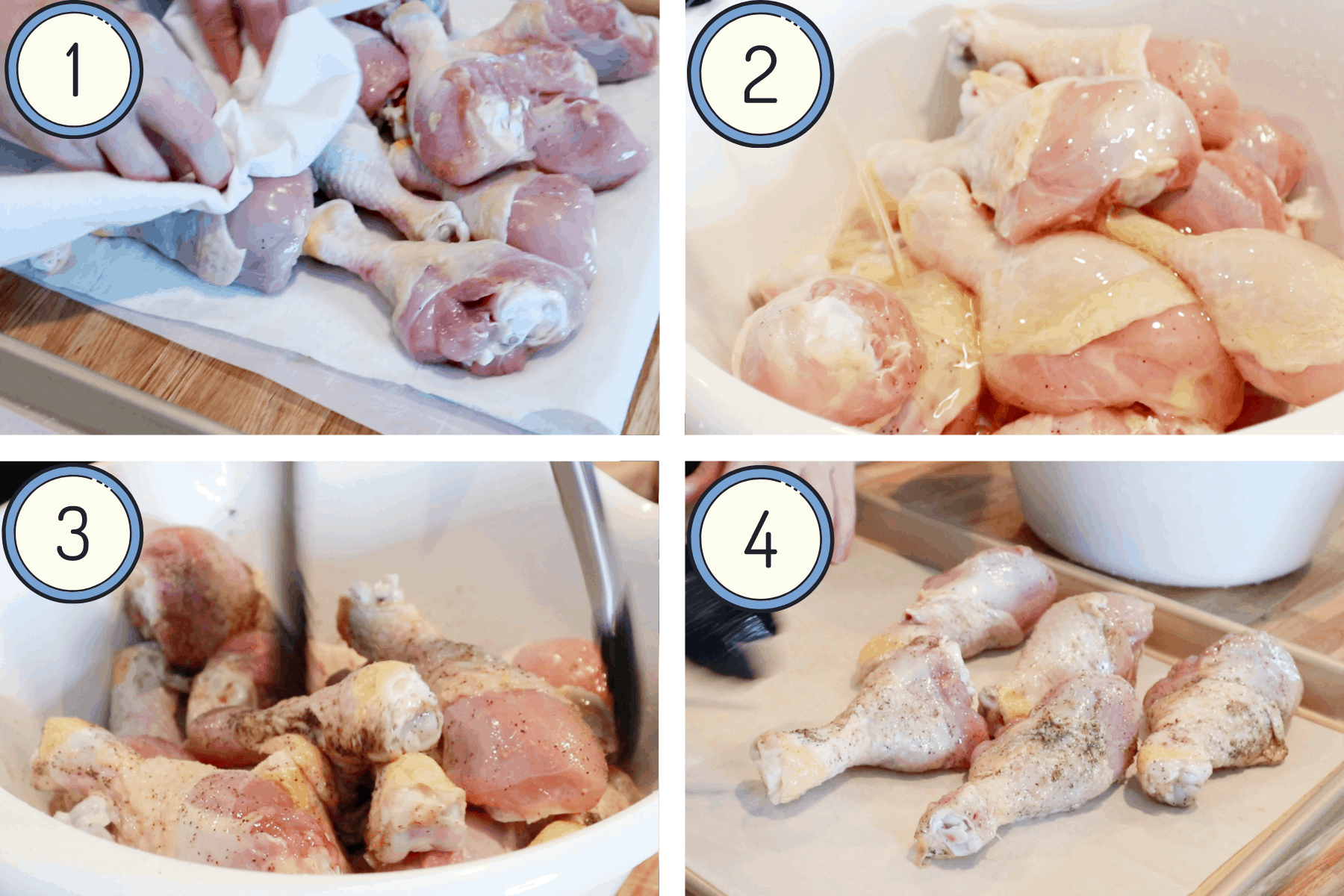 Process shot of how to prepare drumsticks for baking