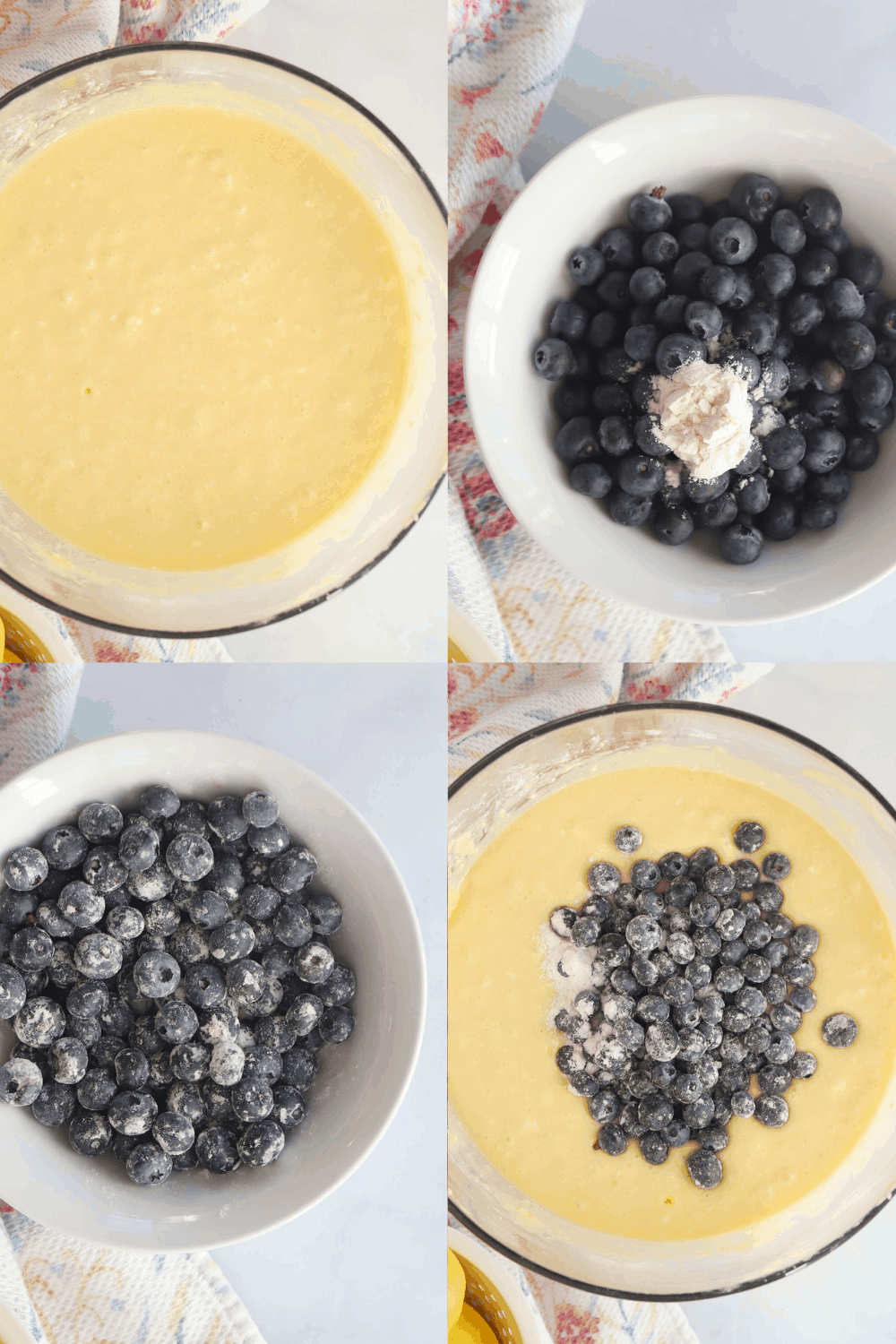 Four photos showing the steps for mixing the mini loaf batter.