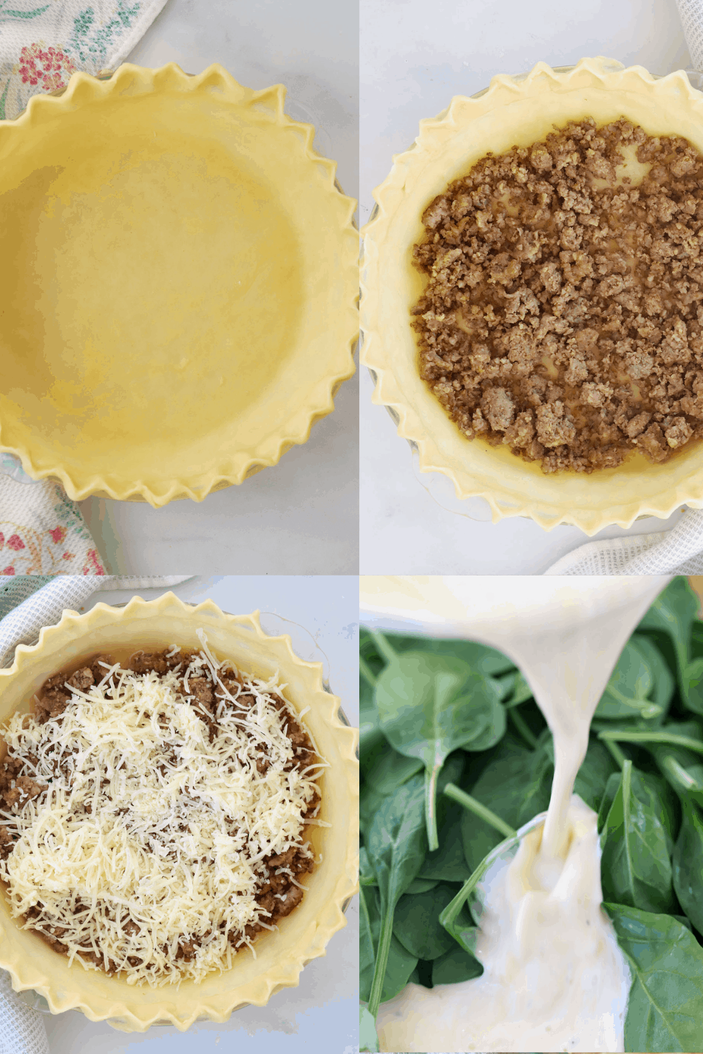Four photos showing how to prep this quiche recipe.