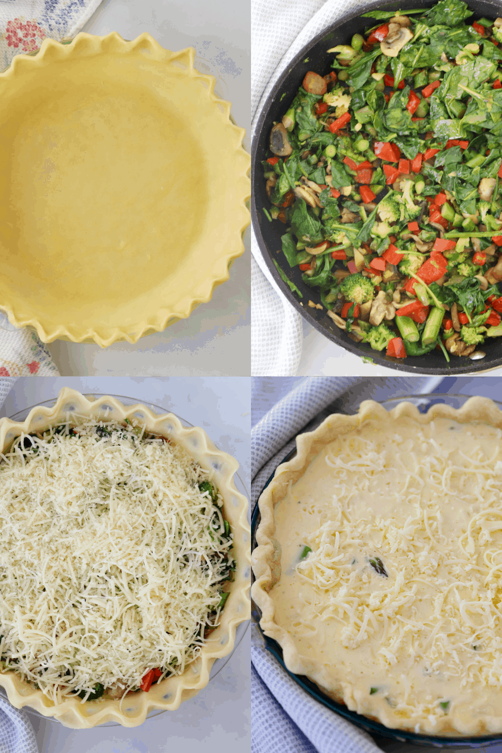 Four photos showing how to fill your vegetable quiche.