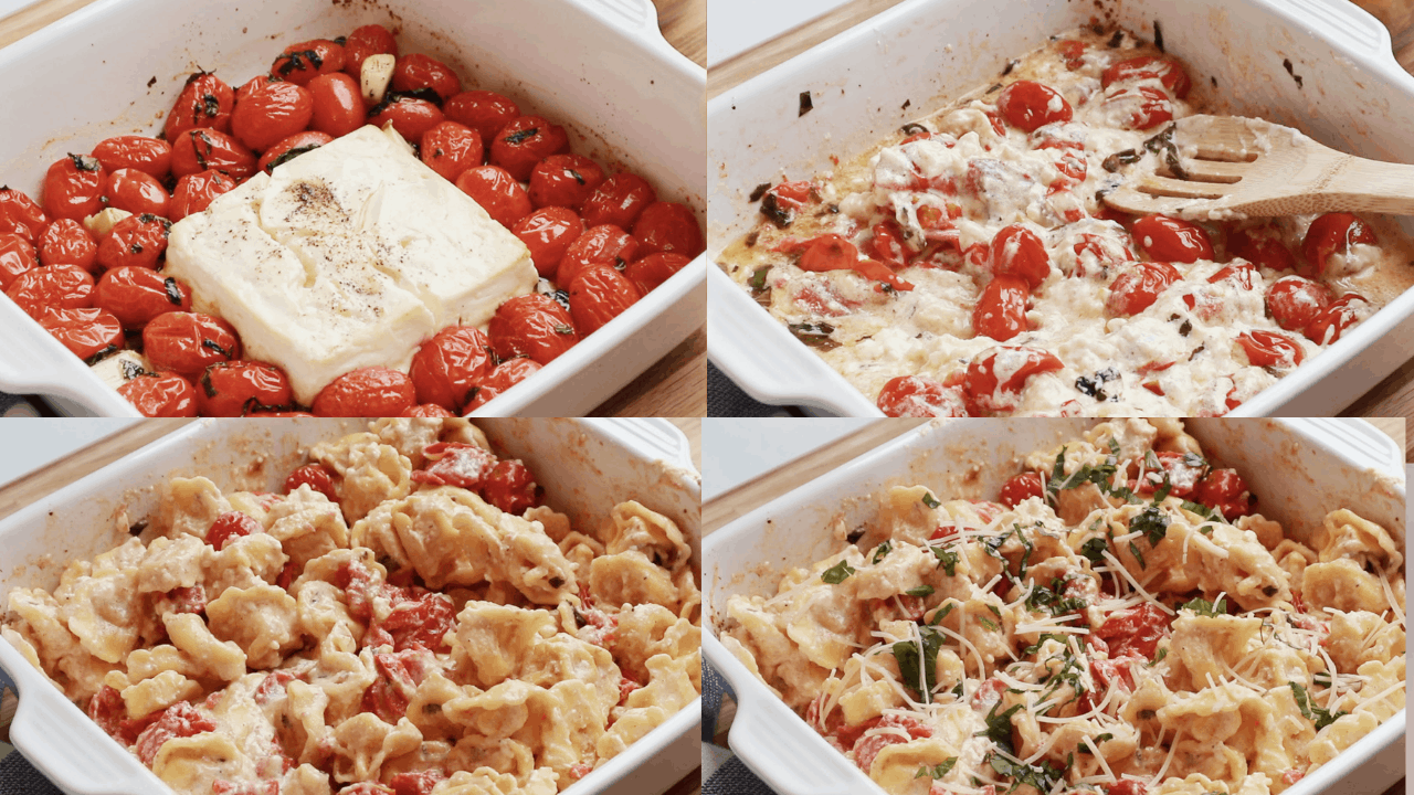 Four photos of the steps for making baked feta pasta.