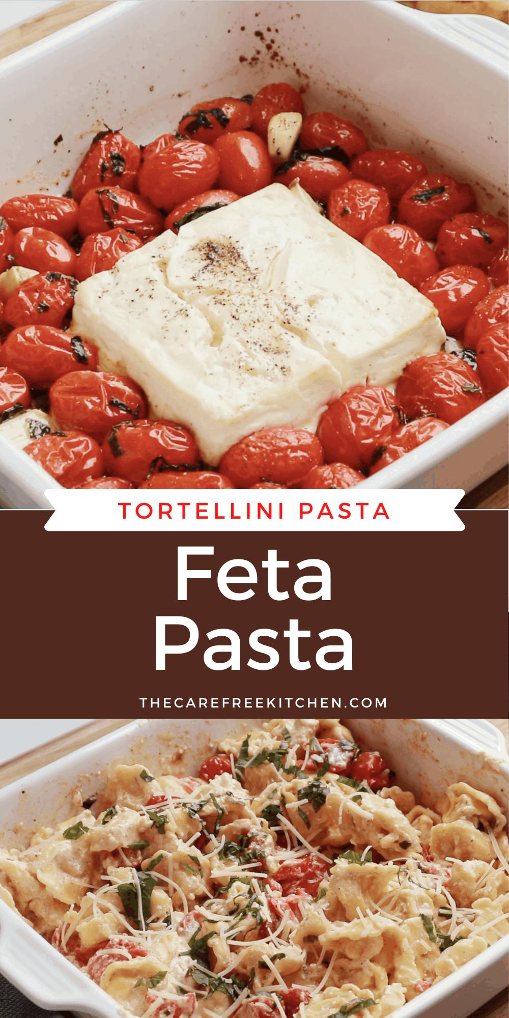 Pinterest pin for baked feta pasta.