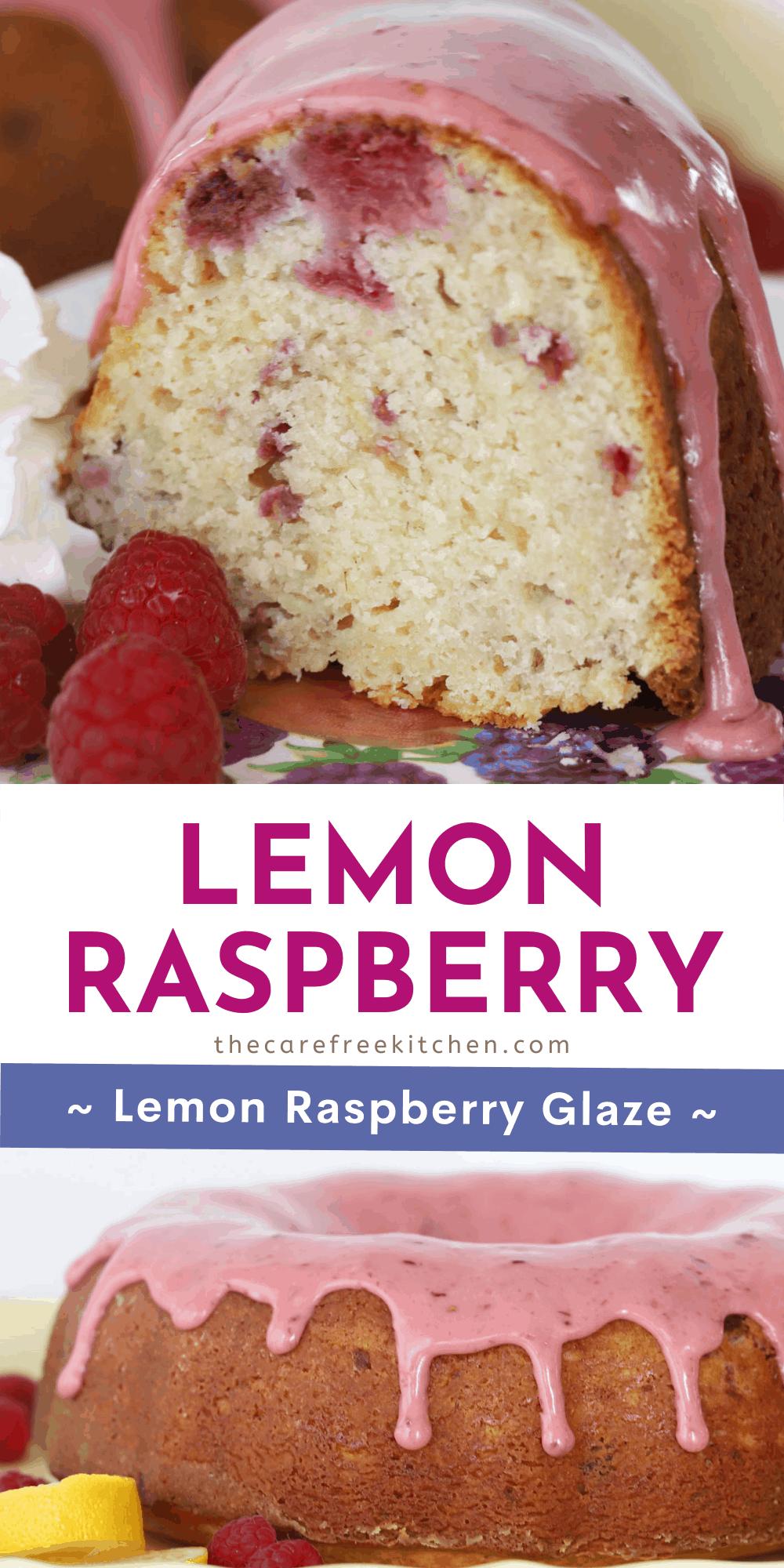 Pinterest pin for lemon raspberry bundt cake.