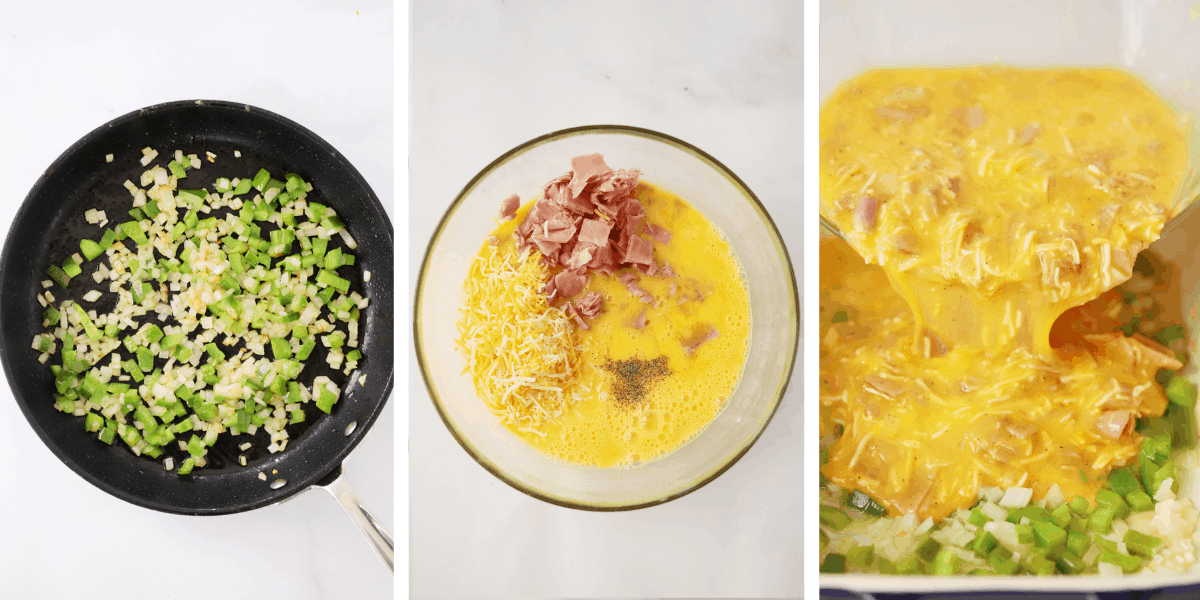 Three photographs showing the process for making a Baked Denver Omelet.