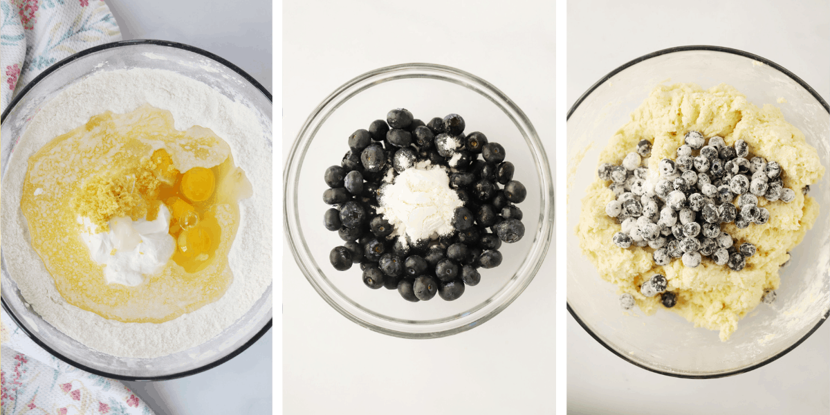 Three photos showing how to mix the lemon blueberry muffin batter.