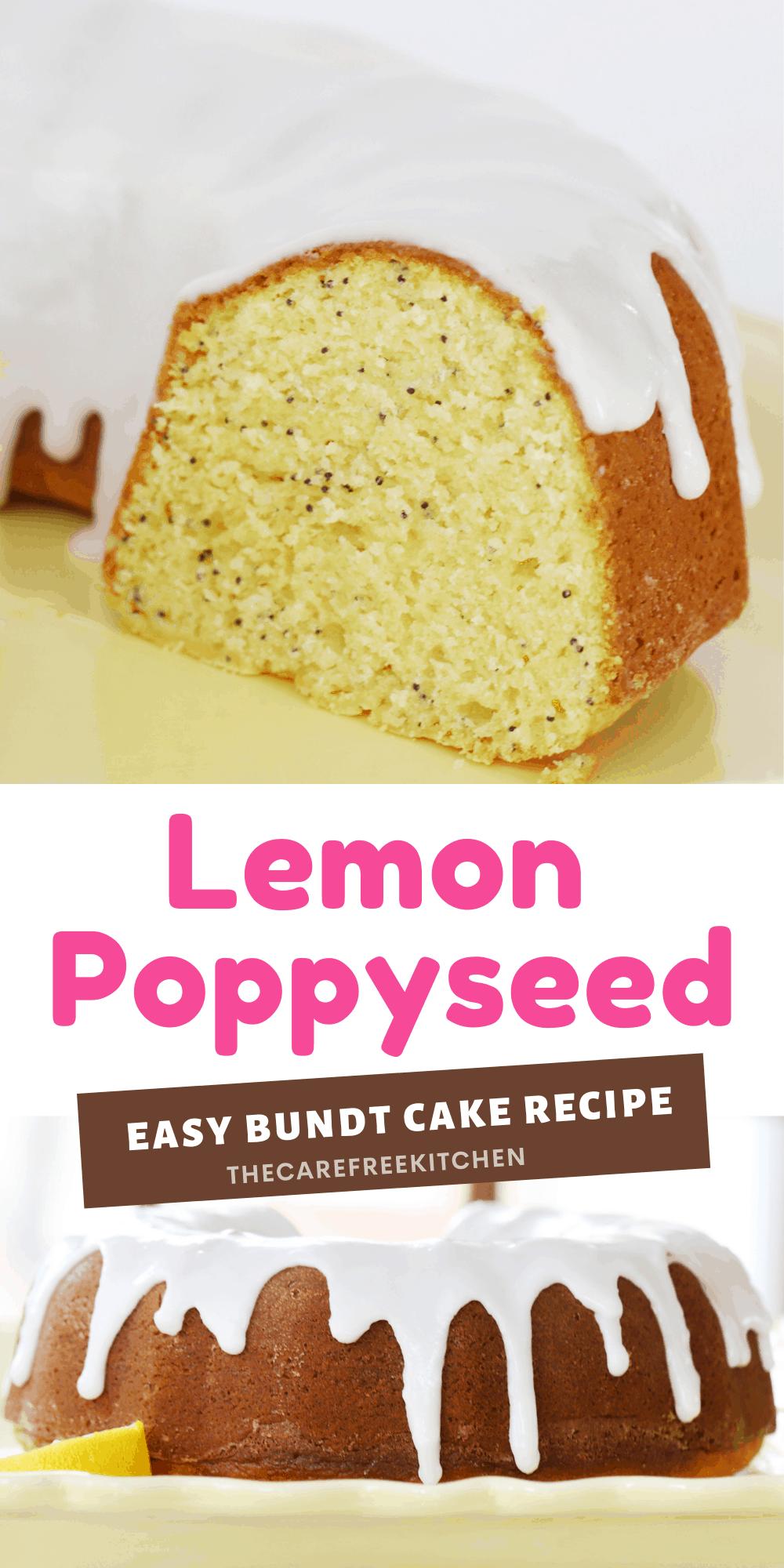 Pinterest pin of lemon poppyseed bundt cake