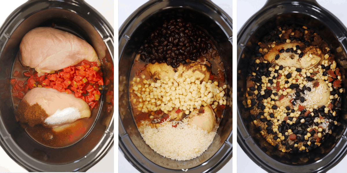 Three photos showing ingredients being added into a crockpot to make slow cooker chicken with rice and beans.