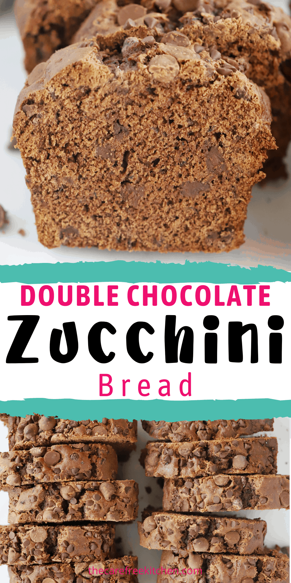 Pinterest pin for Double Chocolate Zucchini Bread.
