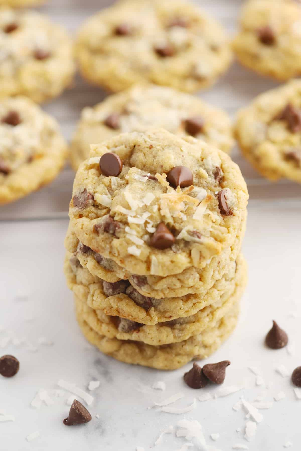 A stack of cookies topped with coconut and chocolate chips.