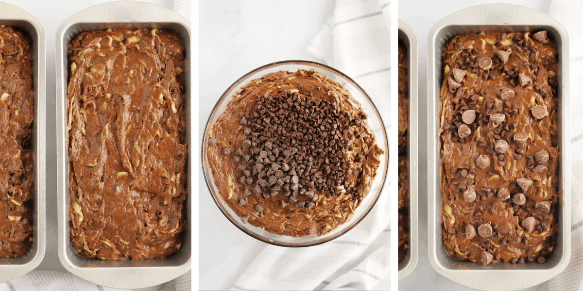Photos showing a glass bowl with batter, loaf pans filled with the batter and loaf pans filled with batter and topped with chocolate chips.