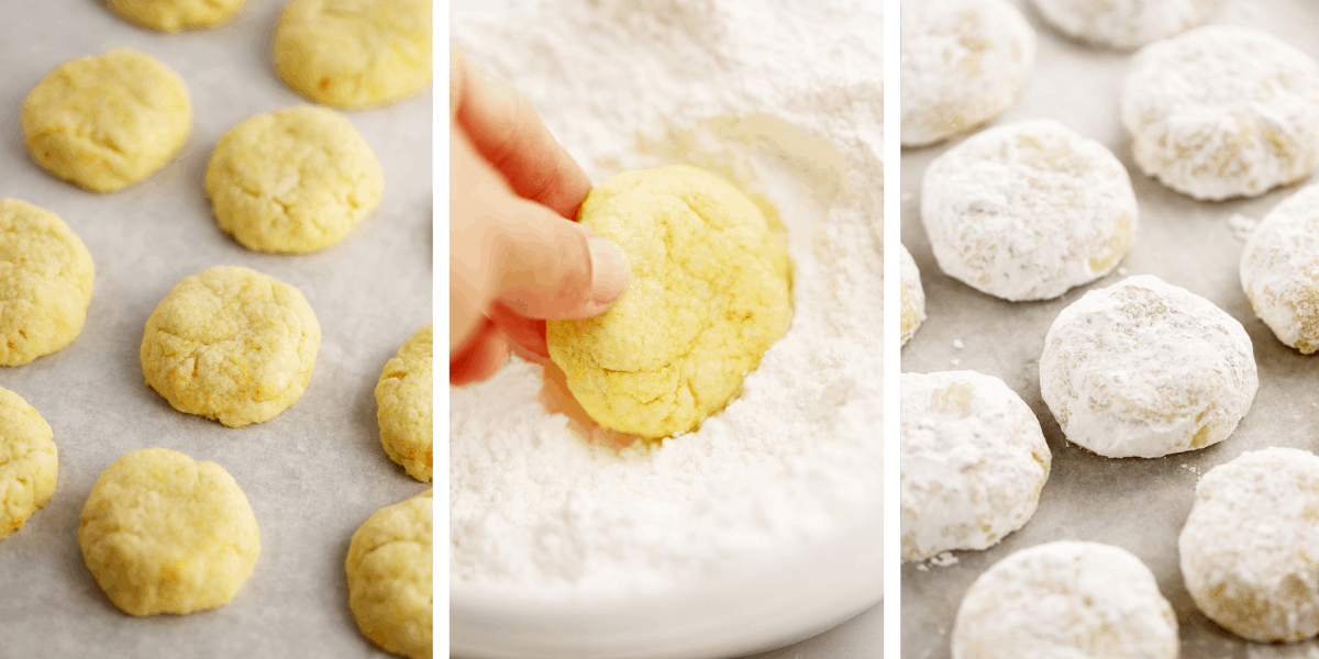 Three photos showing baked cookies, a hand dipping a cookie into powdered sugar and cookies covered in powdered sugar on a counter.