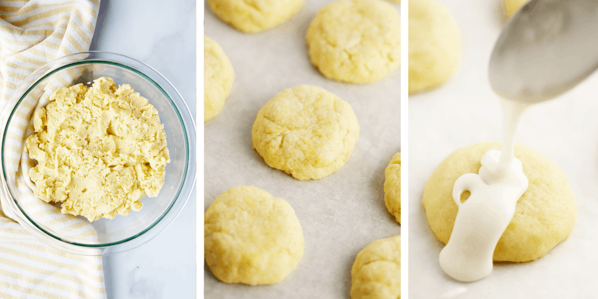 Three photos showing cookie dough in a glass bowl, shaped cookies ready to bake and baked cookies being glazed.