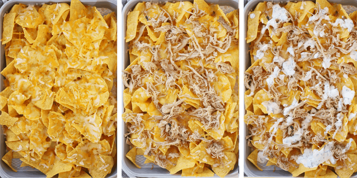 Three photos of sheet pans showing the steps for building nachos.