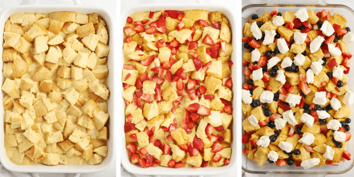 Three photos showing the steps for topping your French toast casserole.
