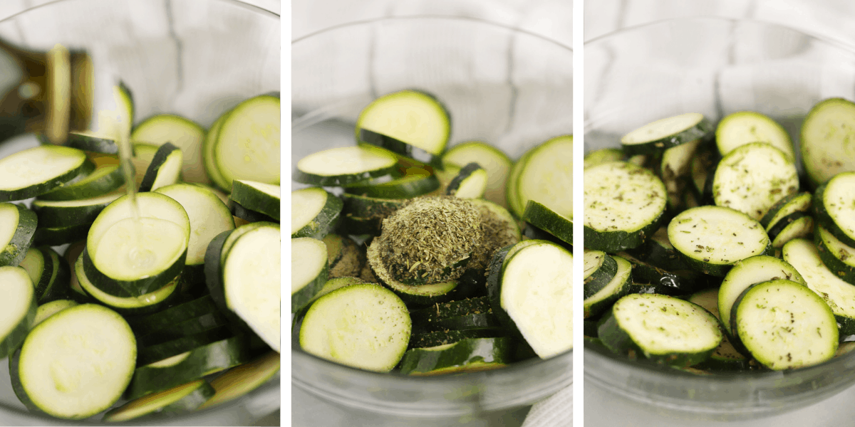 Three photos showing a bowl with sliced zucchini and the steps for adding and mixing the seasoning.