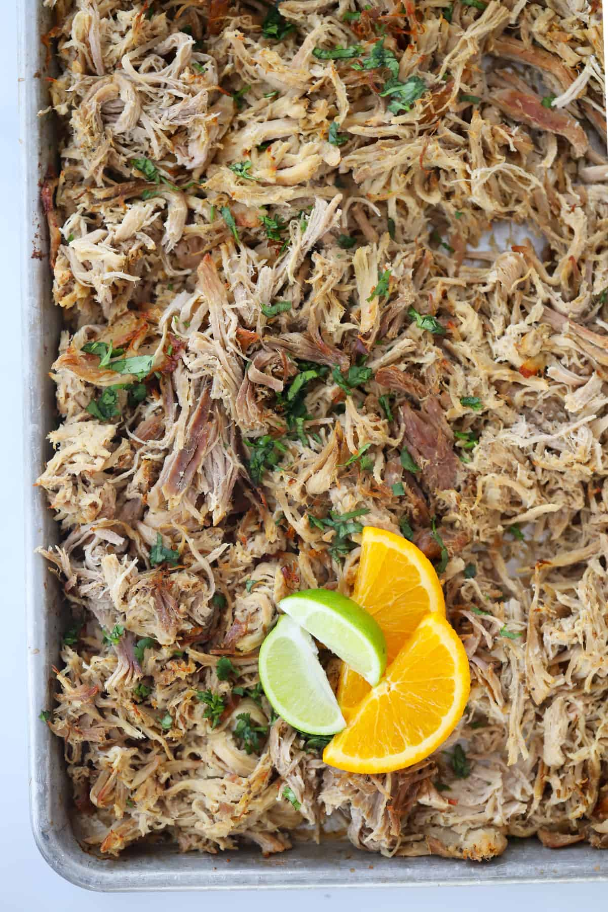 Carnitas spread out on a sheet tray and garnished with fresh cilantro.